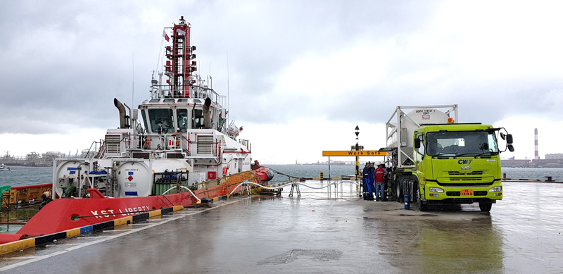 LNG transferring service and provision of equipment for LNG tug